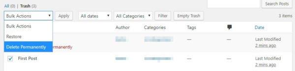 delete permanently 600x145 - 8 mẹo cần làm thương xuyên để bảo trì WordPress website