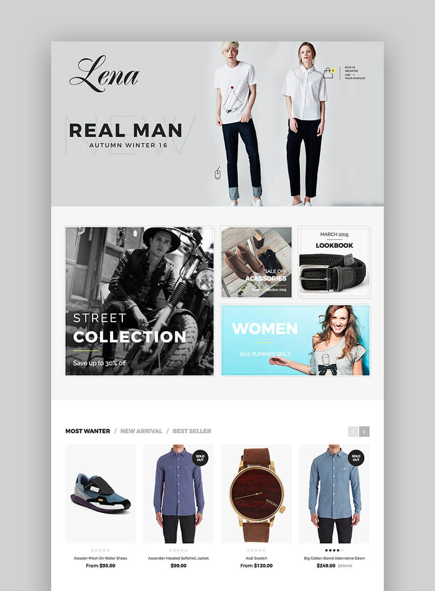 Lena clothing Shopify Theme