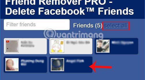 Chọn bạn muốn unfriend Facebook