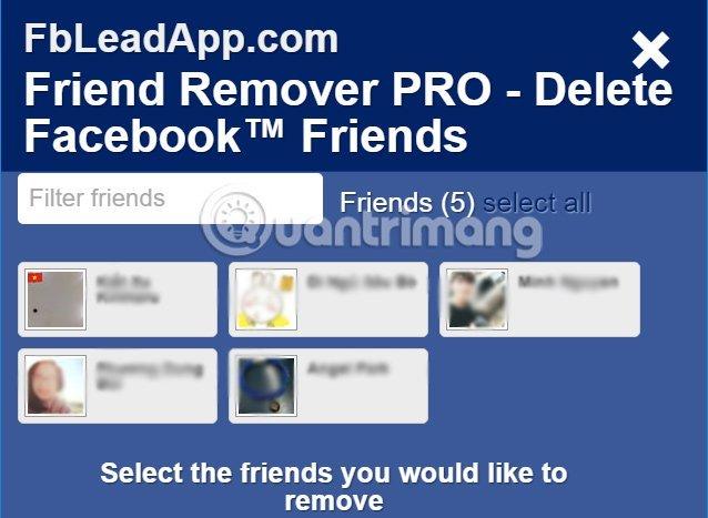 Danh sách bạn bè trên Facebook