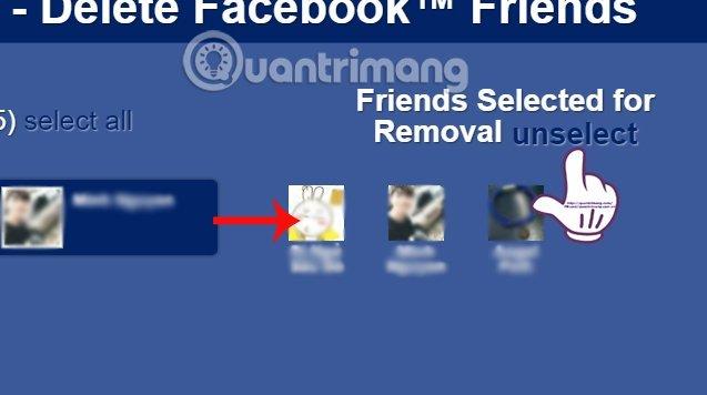 Hủy thao tác unfriend Facebook