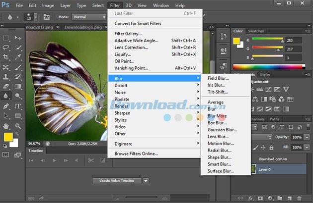 Blur của Adobe Photoshop CS6