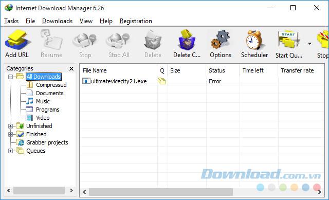 Danh sách file IDM đã tải xuống