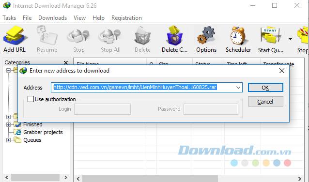 Nhập URL để download