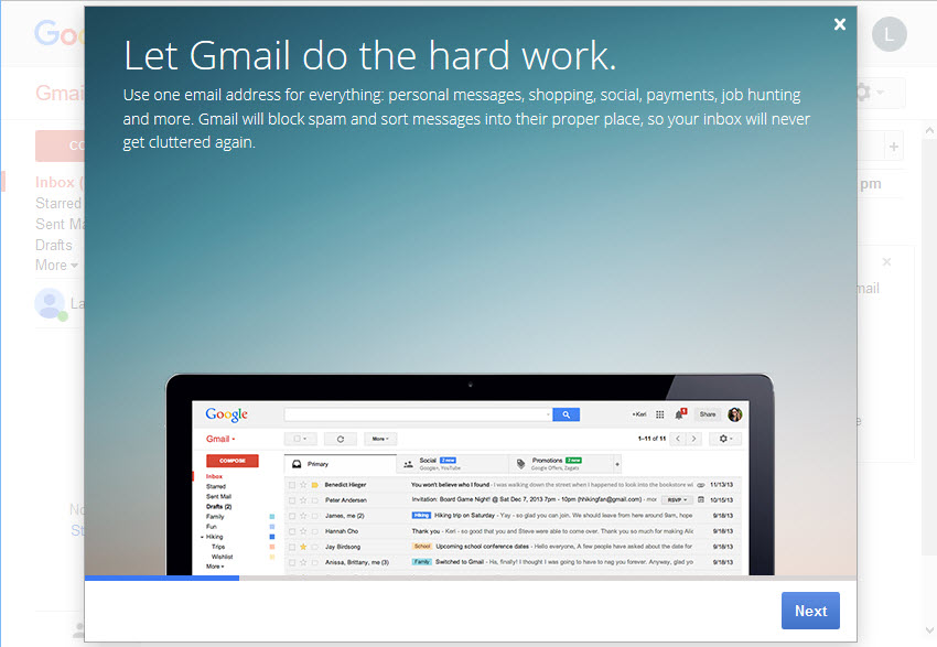 Gmail introductory screen gmail sign in