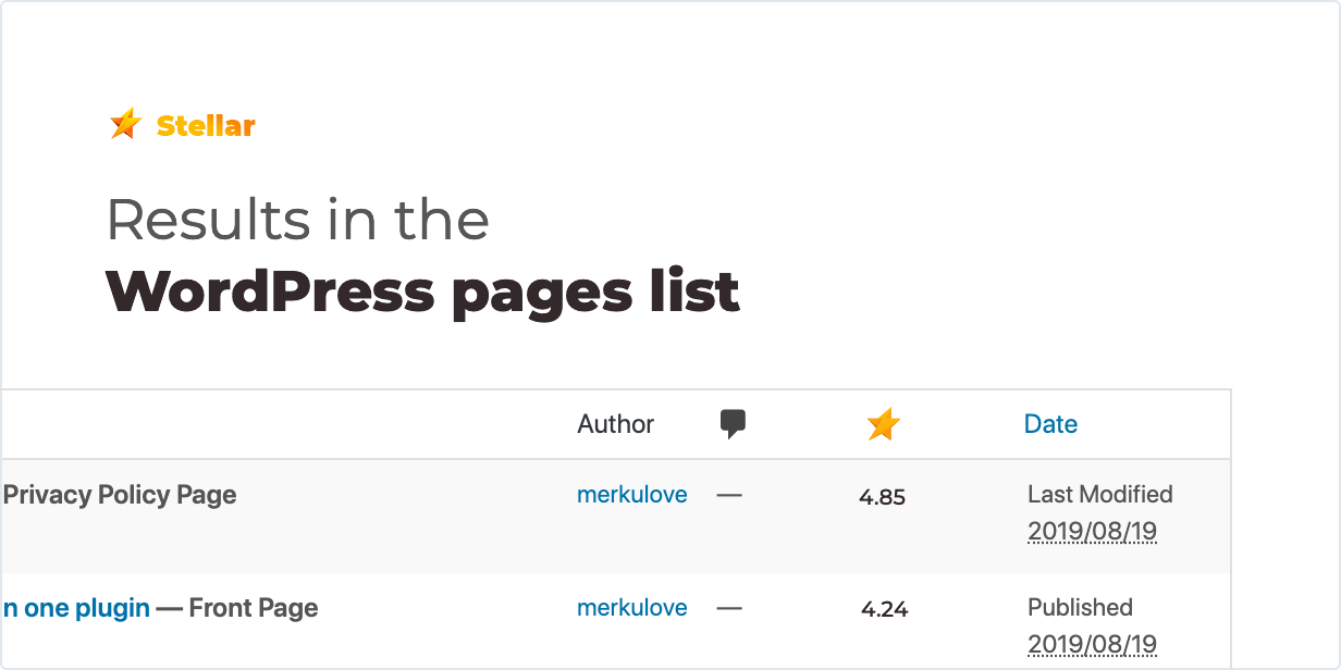 Kết quả trong danh sách các trang WordPress