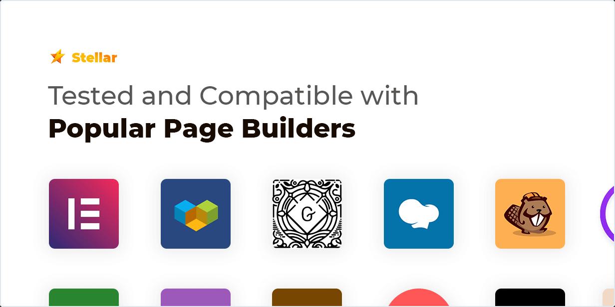 Stellar Rating WordPress plugin được kiểm tra và Tương thích với Trình tạo trang phổ biến