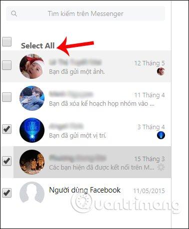 Chọn tin nhắn Facebook cần xóa