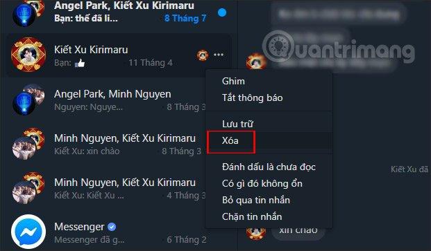 Nhấn chọn Xóa Messenger PC
