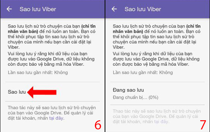 Cách sao lưu tin nhắn Viber Android