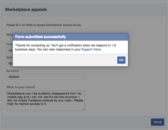 Facebook Marketplace không hoạt động, mẫu đơn kháng cáo