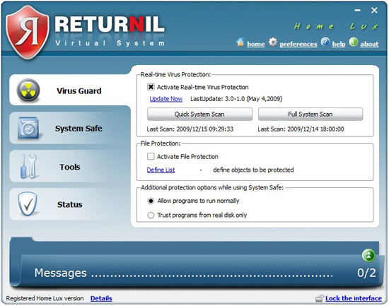 Returnil Virtual System 2010 beta