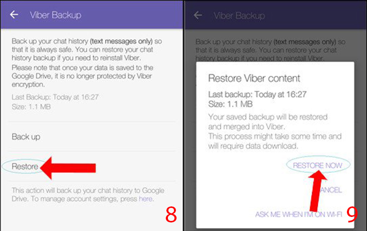 Phục hồi tin nhắn Viber Android