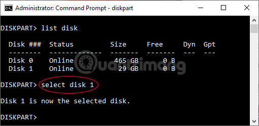 Nhập Select Disk 1 rồi nhấn Enter