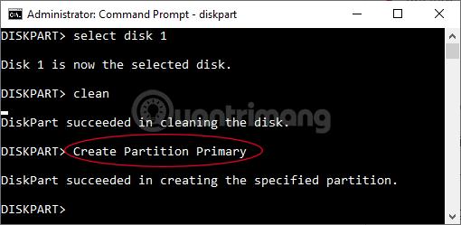 Nhập tiếp Create Partition Primary rồi nhấn Enter