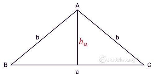 Tính diện tích tam giác cân
