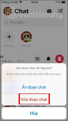 Chọn xóa tin nhắn trên ứng dụng
