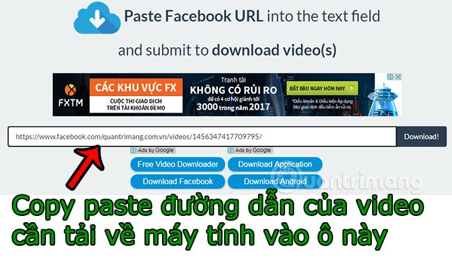 Paste url facebook video