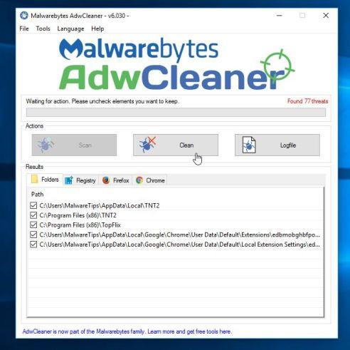 Để loại bỏ các tập tin độc hại được AdwCleaner phát hiện, click chọn nút Clean