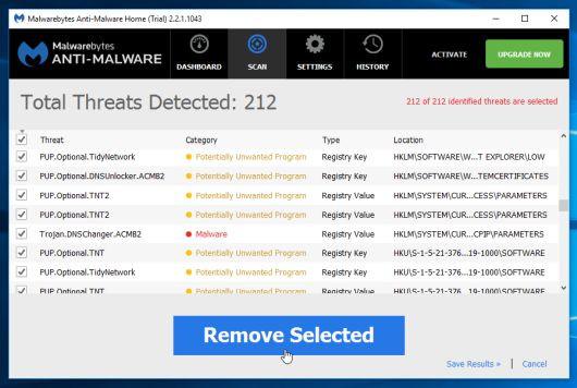 Để gỡ bỏ các chương trình độc hại mà Malwarebytes Anti-Malware phát hiện được, click chọn nút Remove Selected.
