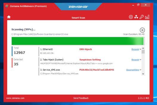 Zemana AntiMalware sẽ bắt đầu quét máy tính của bạn để tìm các file độc hại