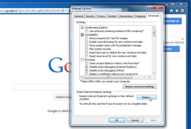 Trên cửa sổ Internet Options, tại đây bạn click chọn tab Advanced, sau đó click chọn Reset
