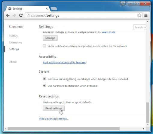 Tiếp theo click chọn nút Reset browser