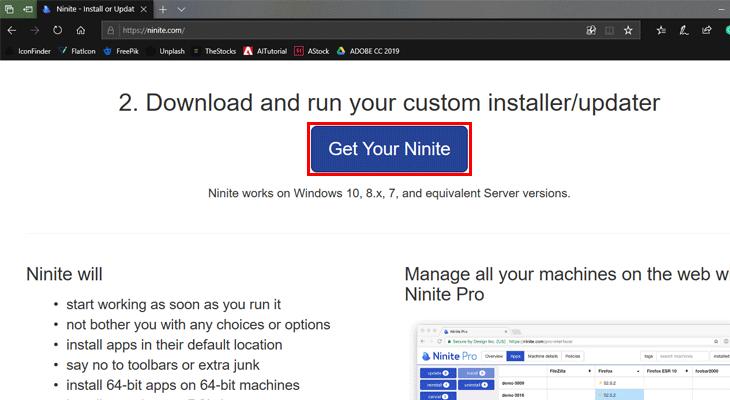 Chọn Get Your Ninite để tải ứng dụng về