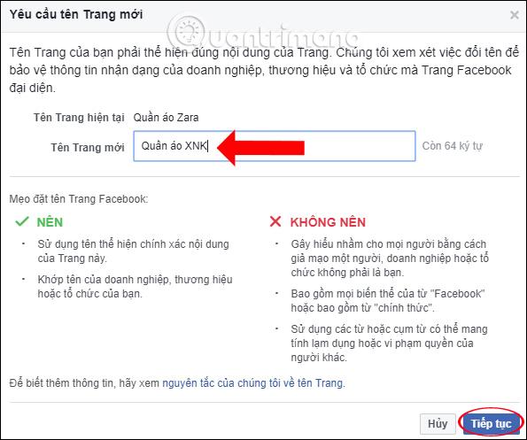 Nhập tên mới cho Fanpage Facebook