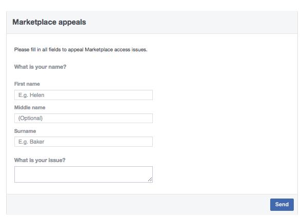 Biểu mẫu kháng cáo trên thị trường Facebook để khôi phục quyền truy cập vào tính năng mua và bán