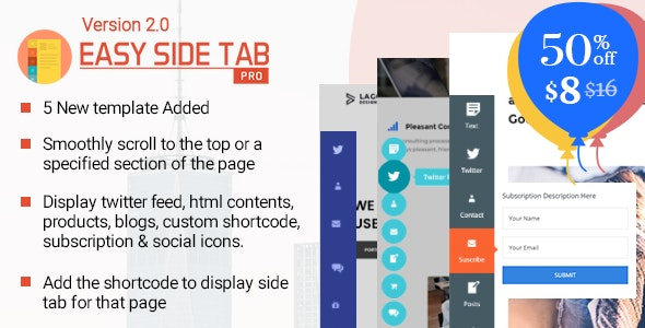 Easy Side Tab Pro v2.0.3 - Responsive Floating Tab Plugin For WordPress