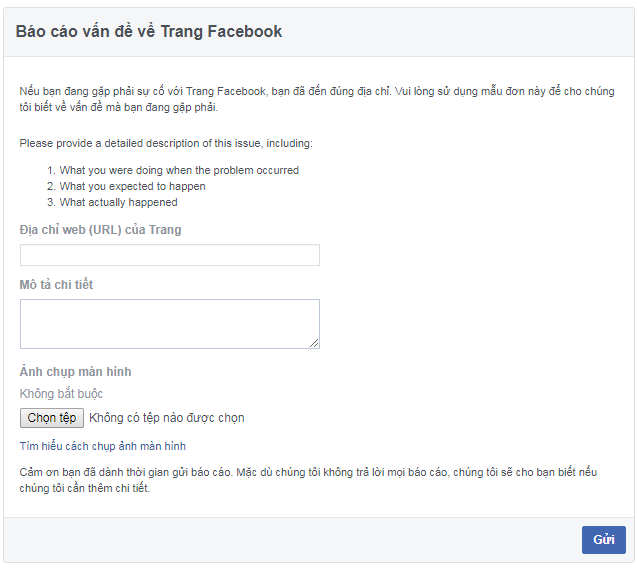 chat với support facebook