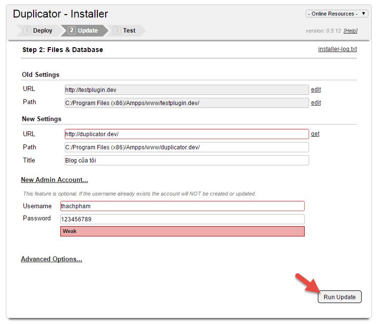 hướng dẫn sử dụng duplicator