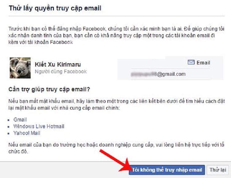 cách lấy lại nick facebook bị hack email
