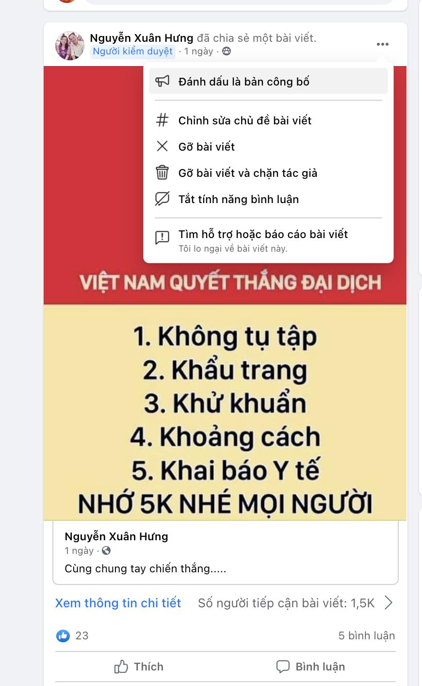 Ghim Bài Lên Nhóm Facebook