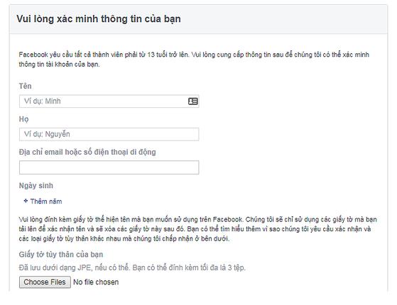 mở khóa facebook bị báo cáo mạo danh