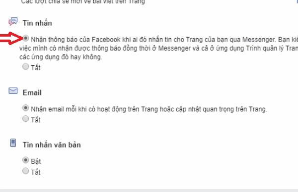 không nhận được thông báo từ fanpage trên facebook