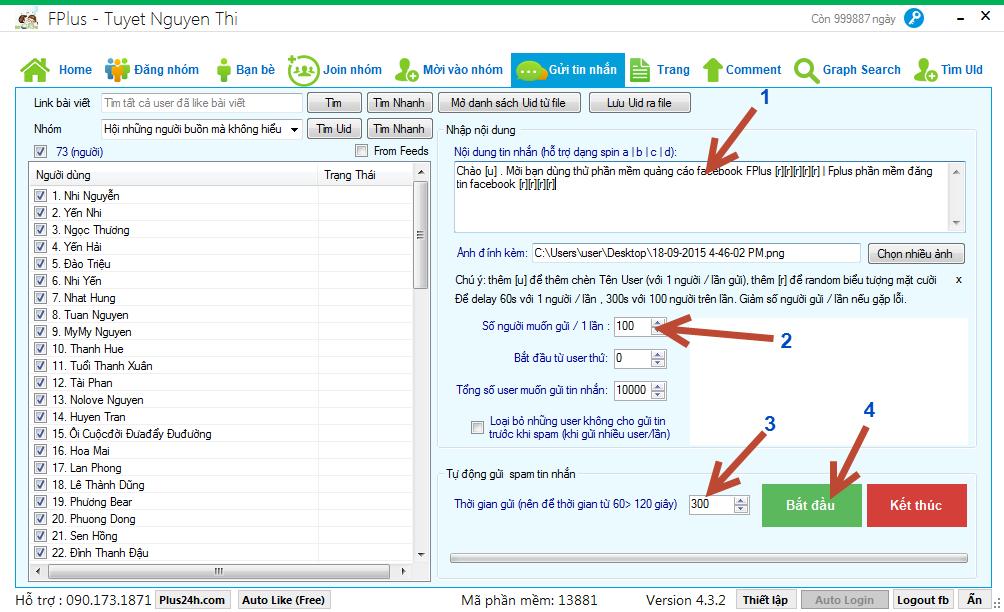 Hướng dẫn tự động gửi & spam tin nhắn facebook
