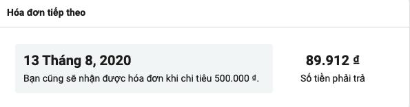 các ngưỡng thanh toán facebook