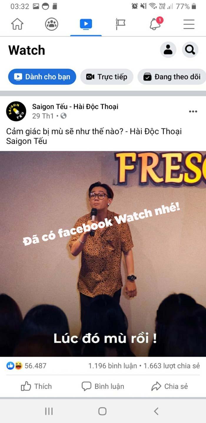 tại sao facebook không có watch