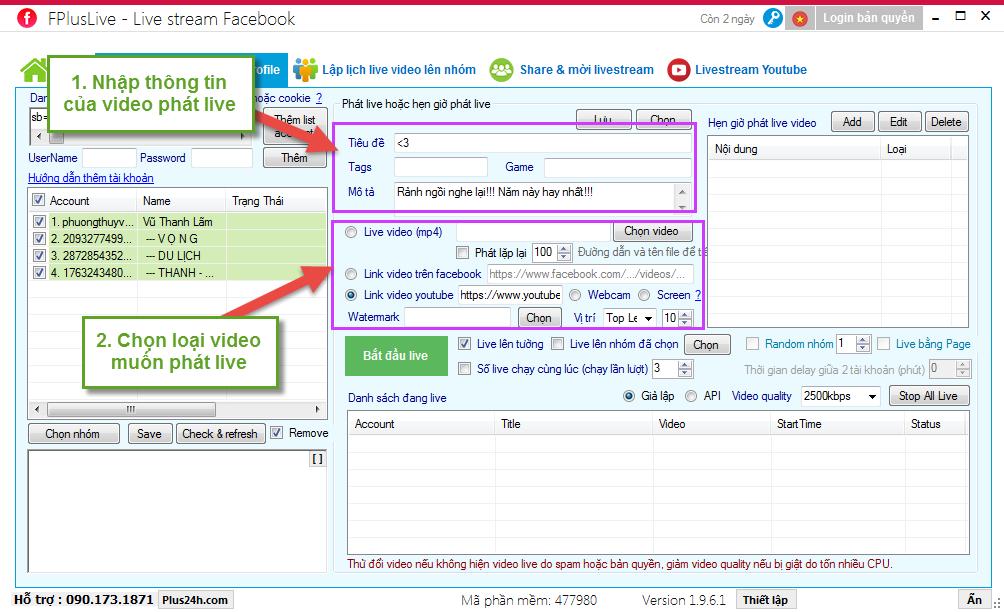 Phát livestream lên nhóm bằng tư cách page quản trị