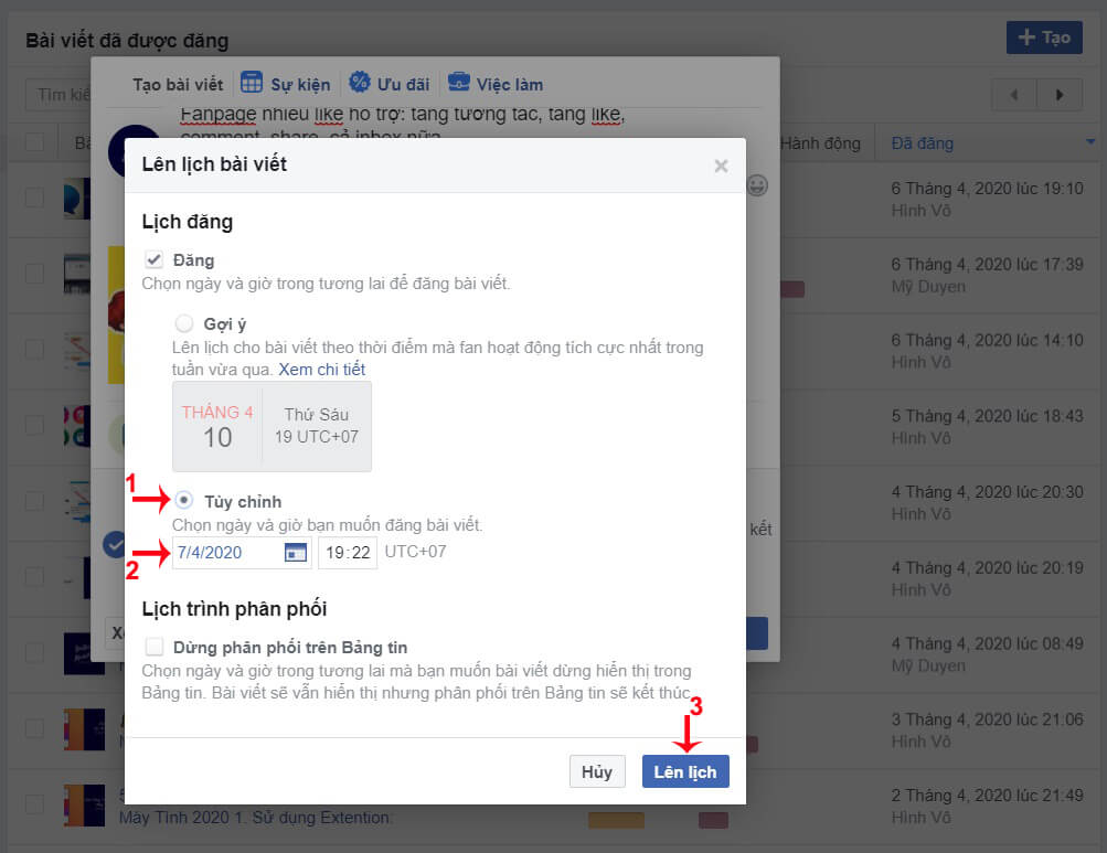 đặt lịch đăng bài trên facebook