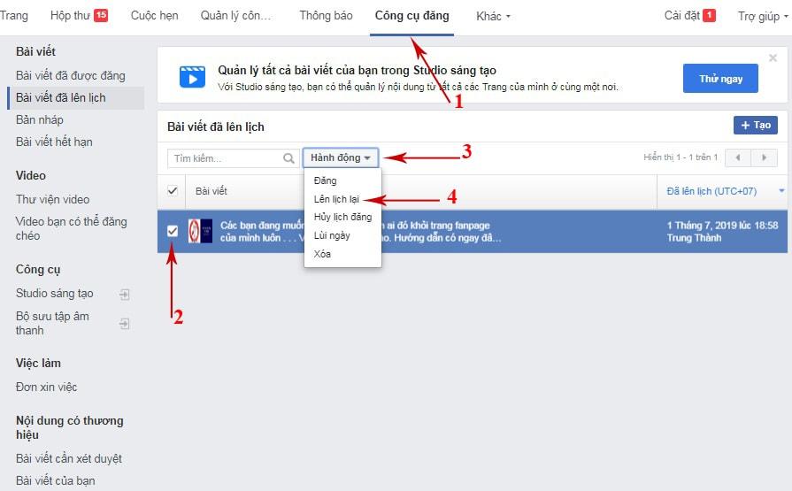 cách hẹn giờ đăng bài trên facebook