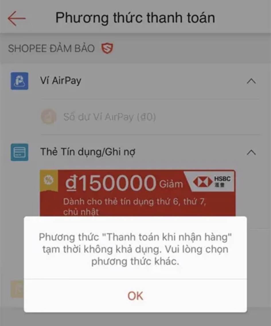 tại sao shopee không cho thanh toán khi nhận hàng