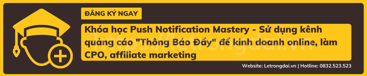 Khóa Học Push Notification Mastery Sử Dụng Kênh Quảng Cáo Thông Báo Đẩy để Kinh Doanh Online, Làm Cpo, Affiliate Marketing