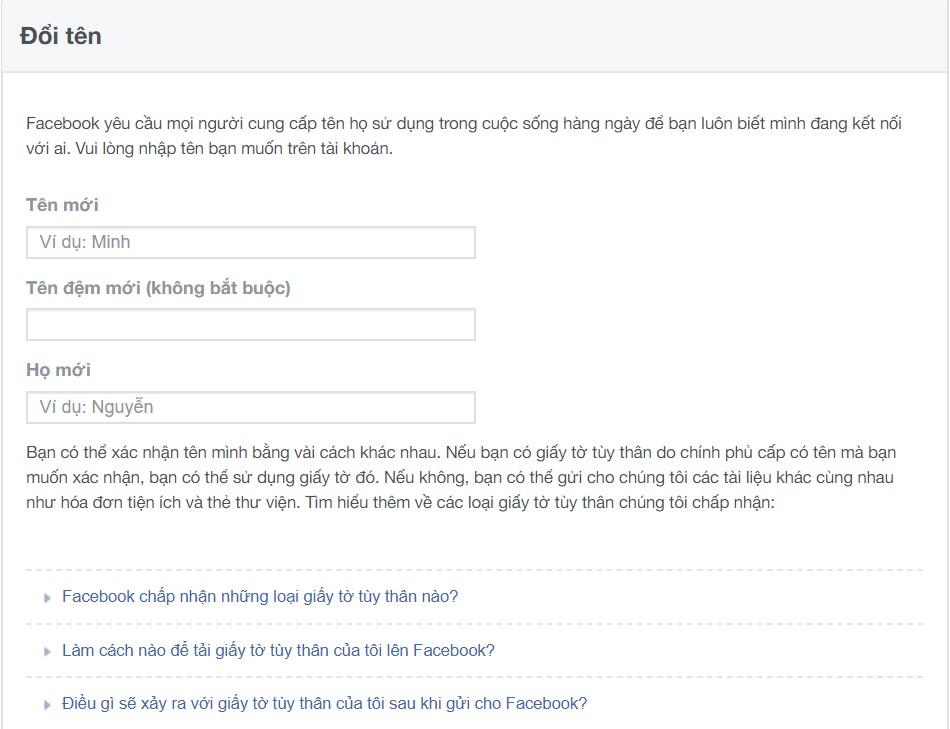 Link 333 đổi tên Facebook