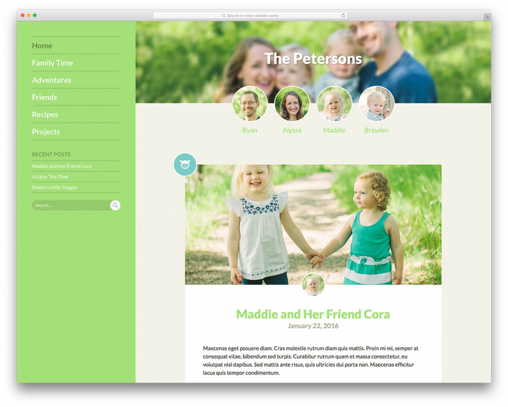 Familyblog WordPress Blogging Theme