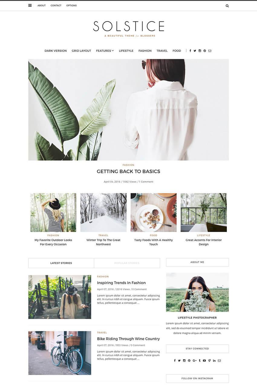 Solstice Personal WordPress Blog Theme