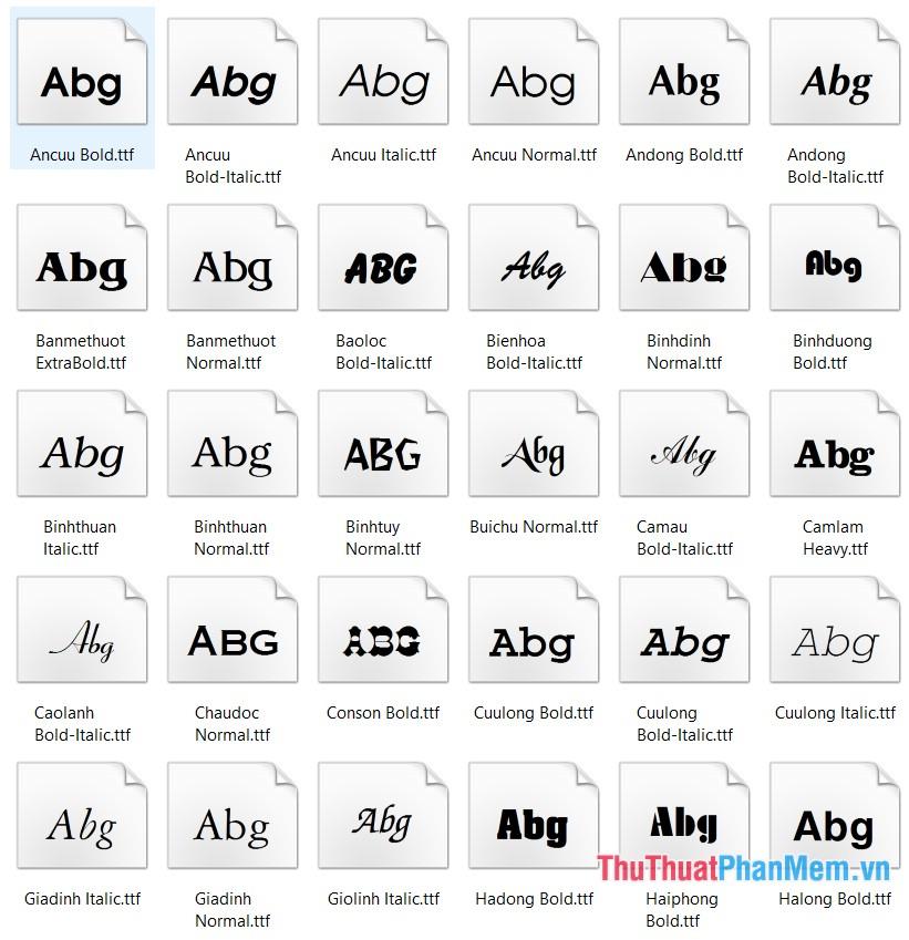 Một số mẫu font VNI VNI-DOS