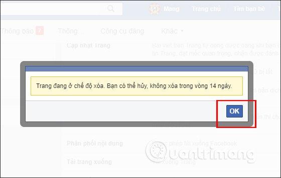 Thông báo xóa Fanpage PC